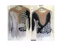 Black & White Embellished Ice Figure Skating Dress Twirling Majorettes Size8-10