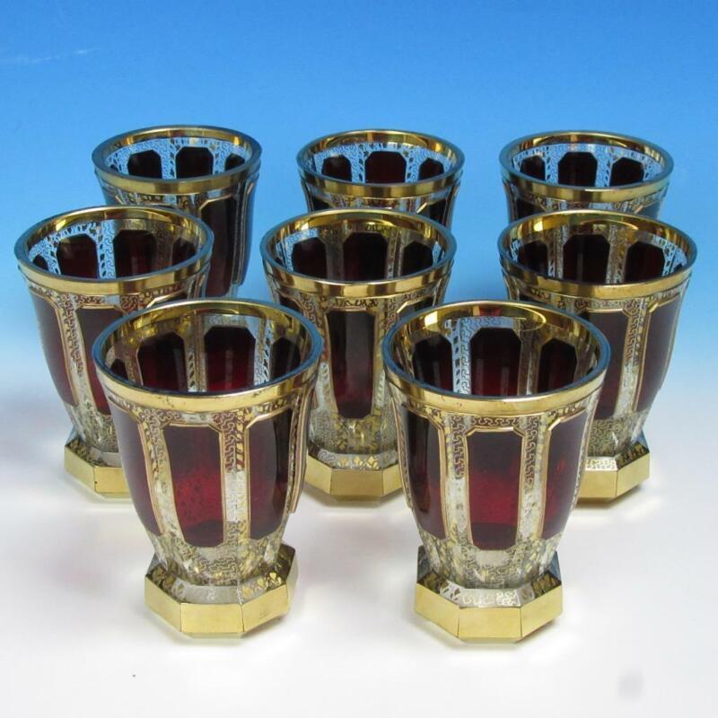 Bohemian Moser Deep Ruby Cabochon Ornate Gilt Glass - 8 Glasses Goblets Tumblers