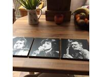 Green Day Wooden Portrait Tiles x 3