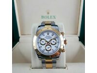 TwoTone Rolex Daytona With White Face Comes Rolex Boxed with Paperwork