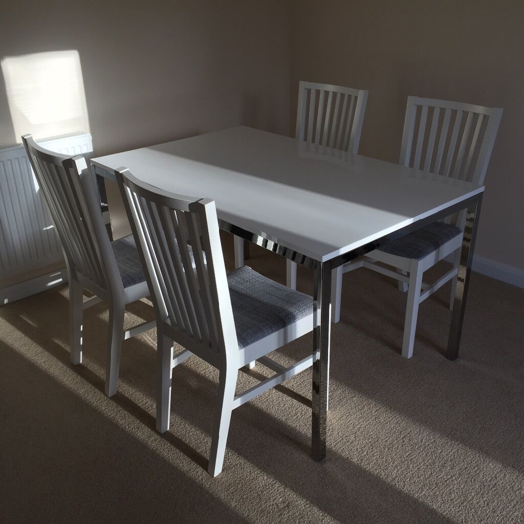 White Dining Table 4 Chairs New IKEA Torsby Norrnas In Kirkliston Edin