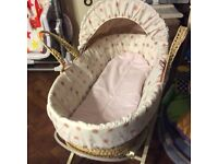 Pink and beige button design Moses basket and stand
