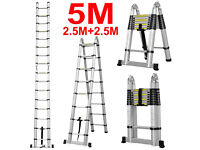 Brand New 5.0m Multi-Purpose Aluminium Telescopic Extendable A Frame Ladder Step Work Home Office