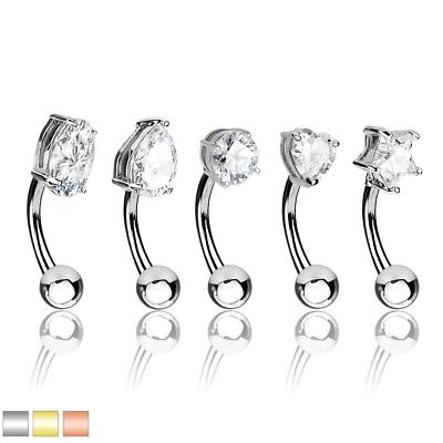 5pc Clear Gems Curved Bent Barbells Eyebrow Rings Ear Daith Rook Studs PIERCINGS Clear Eyebrow Rings