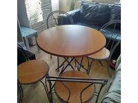 Round ikea foldable dining table with 4 chairs