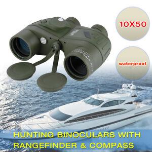 Military Navy Binoculars Telescope Range Finder&Compass Hunting Sailing 10x50