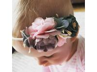 Baby Girl, Toddler & Adult Flower Headband - Pink, Purple & Green