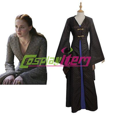 Game of Thrones Sansa Stark Dress Costume Medieval Dress Halloween Costume (Stark Costume)