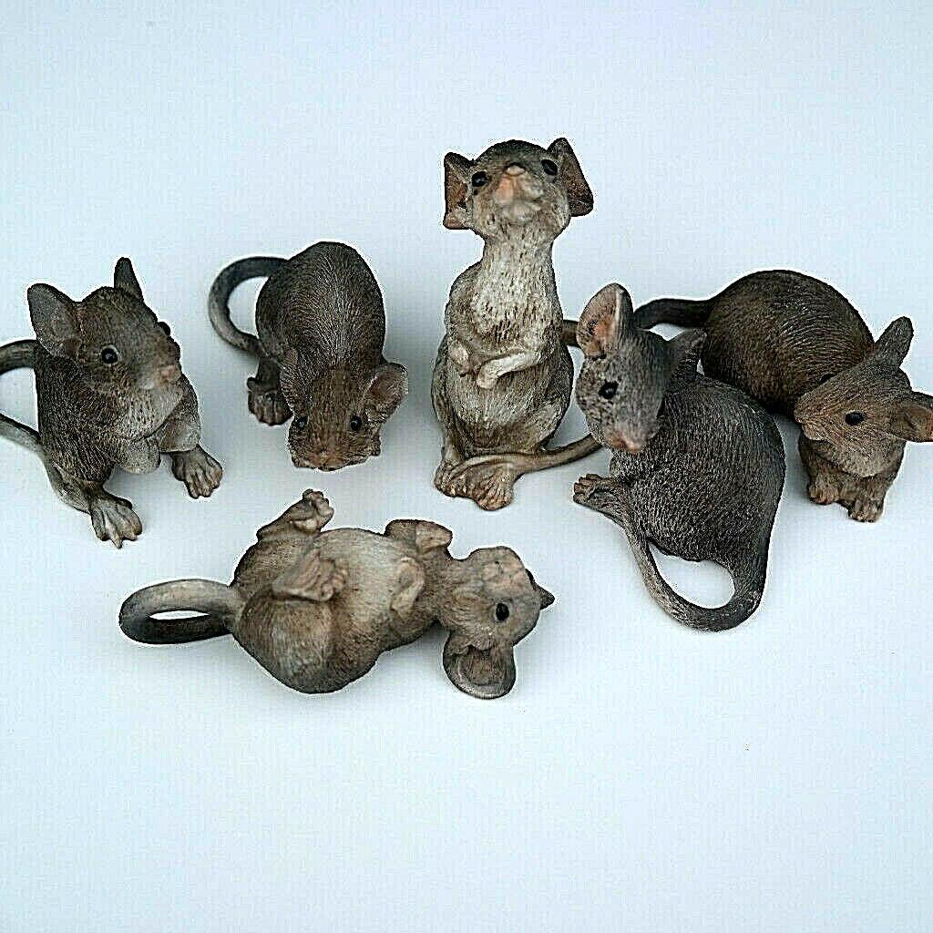 Mäuse Dekofigur Tierfigur Nager grau 6er Set Maus Tier Tiere Deko Gartenfigur