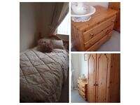 Pine bedroom furniture set - single bed frame, wardrobe and chest of drawers - excellent condition