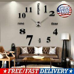 3D Mirror Surface Large Wall Clock Modern DIY Sticker Office Home  Art Decor USA