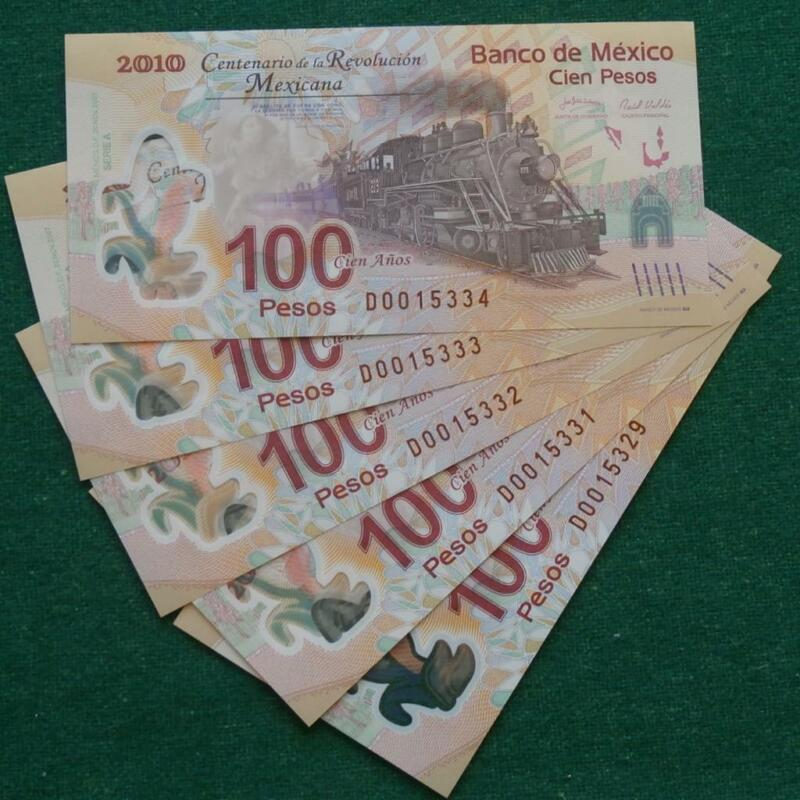 2010 MEXICO 100 pesos 5 notes  Polymer (railroad) SERIE A Sub D CRISP