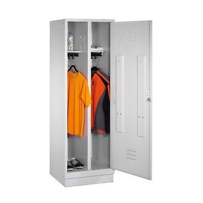 Umkleideschrank für 1 Person 2 Abteile hinter 1 Tür Abteilbreite 300mm Sockel