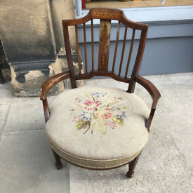 Mahogany and Inlaid Open Armchair with Upholstered Seat . Lovely Detail.