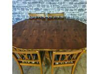 Vintage Extendable Dining Table with 6 Chairs
