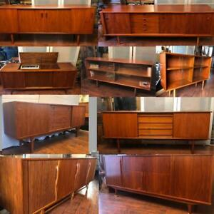 REFINISHED Mid Century Modern Teak, Walnut, Rosewood Sideboards TV Media Record Consoles Buffets Displays Shelving