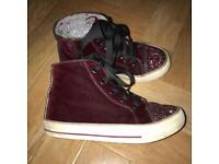 M&S Girls Burgundy Velvet Sparkle Boots Size 11