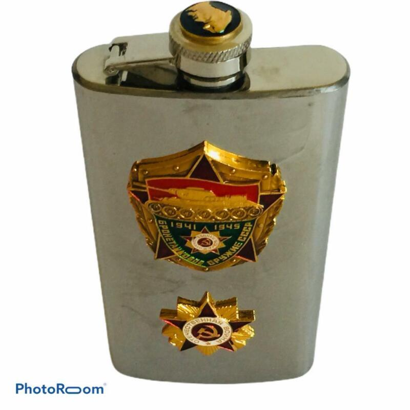 Vintage Russian Flask Vladimir Lenin Bust Stainless Steel USSR