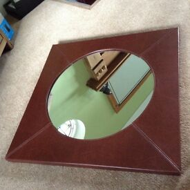 Brown leather effect mirror