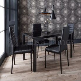 ✤✤BRAND NEW IN BOX ✤✤BRAND NEW ✤✤GLASS DINING TABLE WITH 4 FAUX LEATHER CHAIRS