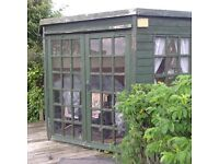 Free Garden Summer House approx. 7' square, lined with flooring. Collector to dismantle