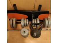 Weights, Barbells, Flat Bench & Kettle bell