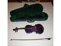 Quarter size beginner purple violin + case + bow