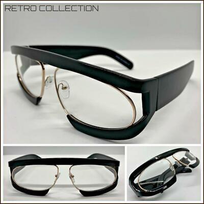 OVERSIZED RETRO Style Clear Lens EYE GLASSES Super Thick Black & Rose Gold (Thick Black Glasses)