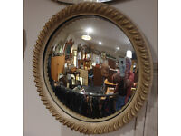 Pretty Vintage Art Deco Style Round Ornamental Convex Wall Mirror with Attractive Gilt Frame