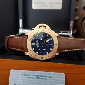 New Mens bagged and boxed Panerai Luminor Submersable blue dial 2017 watch with leather strap