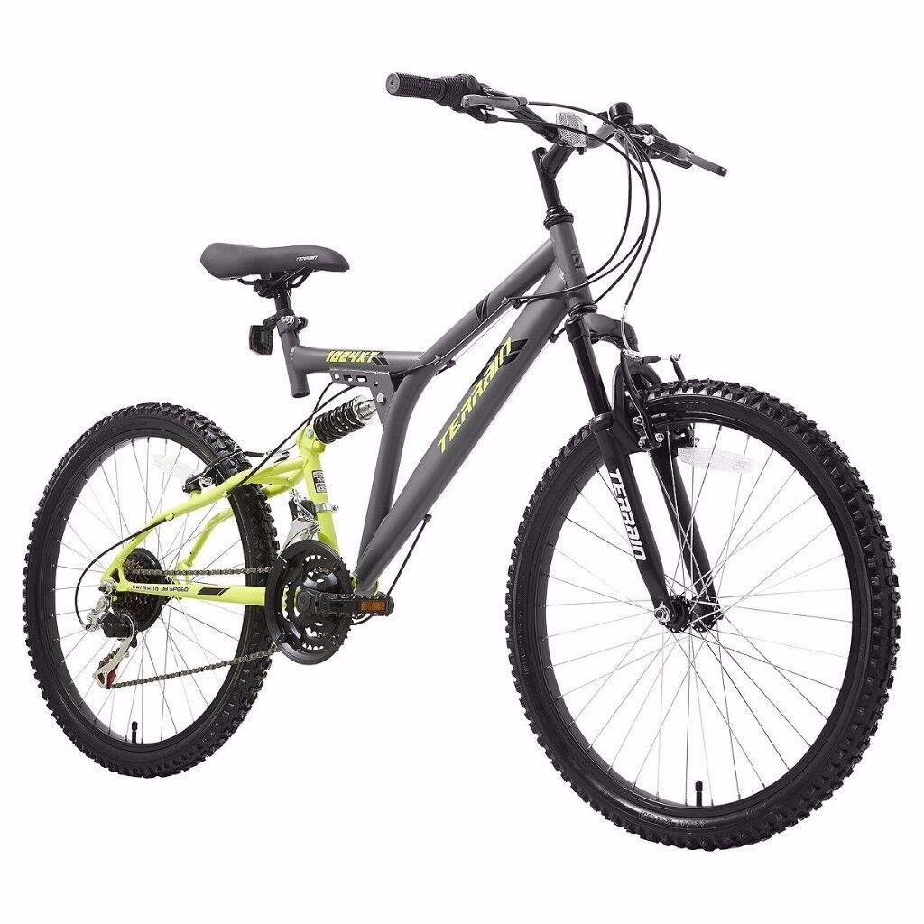 "Terrain 1024XT 24"" Unisex Mountain Bike 18"" Frame Dual Suspension"