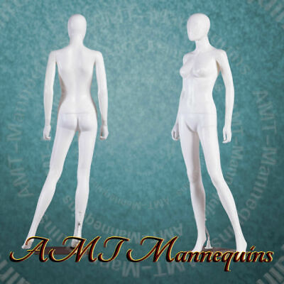 Female Display Mannequinbase Rotated Head Full Body White New Manikin-yfc-1w