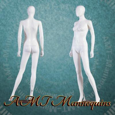 Female Display Mannequinbase Rotated Head Full Body White New Manikin-yfc-1w