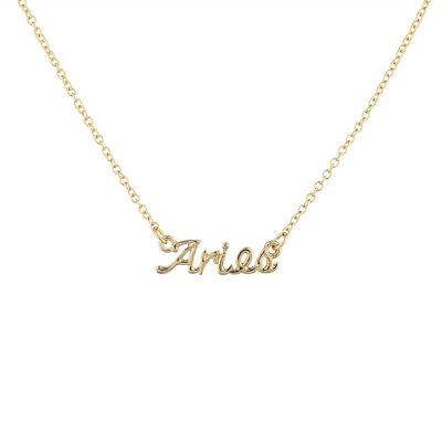 Lux Accessories Gold Tone Aries Astrological Script Nameplate Necklace