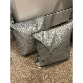 Pair of glitter cushions