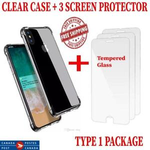 IPHONE X 7 8 7 PLUS 8 PLUS CASE CLEAR WITH BUMPER PROTECTION SCREEN PROTECTOR