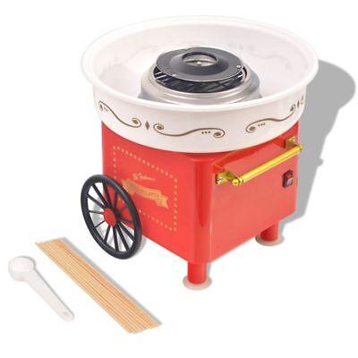 vidaXL Zuckerwattemaschine Räder Zuckerwattegerät Zuckerwatte Maschine 480 W Rot