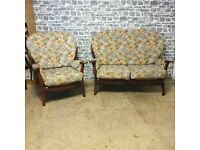 Vintage Two seater Sofa with Armchair