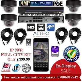 4 Cameras Full CCTV Kit: 8ch NVR 1TB 4x 4MP Dome Cameras