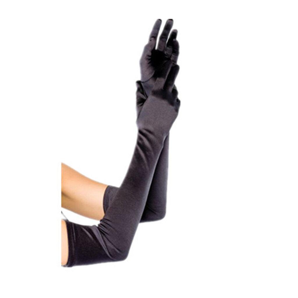 """Women's Evening Party Formal Gloves  22"""" Long Black White Satin Finger Mittens"""