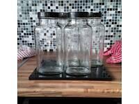 4 large vintage sweet jars