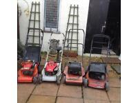 Six petrol mowers