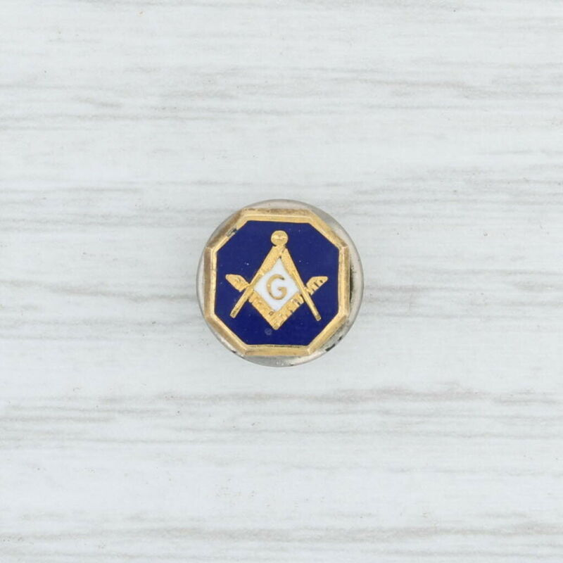 Masonic Square Compass Insignia Pin - 10k Gold Enamel Blue Lodge Masonry