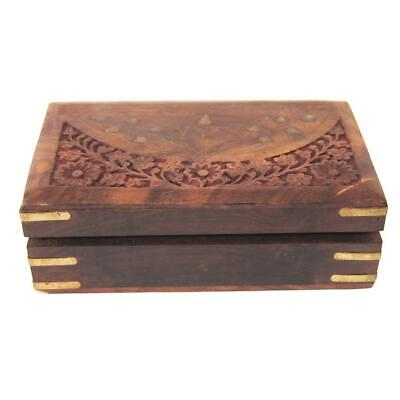 Vintage Wooden Box With Scroll Design and Metal Inserts Soft Inner 20 cm x 6 cm
