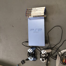 PS2, 2 controllers, various games