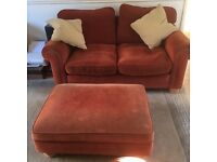 Large two seater sofa and large pouffee