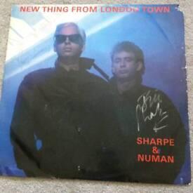 """Autographed 12"""". Gary numan & sharp"""