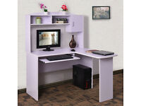 Corner Computer Desk with Shelves & L Shaped Storage Office Table Pull Out Shelf white brand new