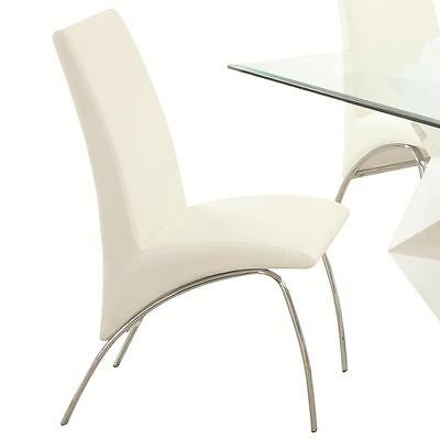 White and Chrome Dining Side Chair - Set of 2