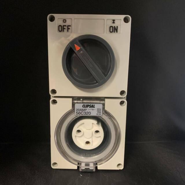 Clipsal Single Phase 20 Amp 3 Pin  U2013 56c320 Switch Socket